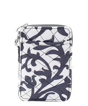 Quilted Wristlet Wallet Damask Print