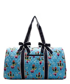Cactus Print Quilted Duffel Bag