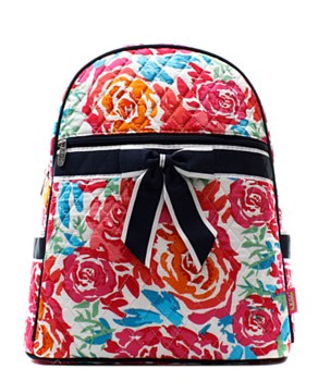 Flower Print Quilted Backpack