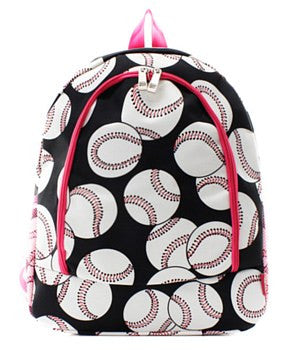 Baseball Print Backpack - 2 Color Choices