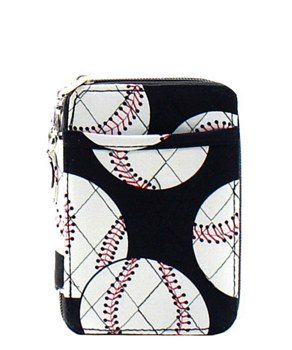 Quilted Wristlet Wallet Baseball Print