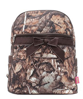 Camo Print Quilted Backpack - 5 Color Choices