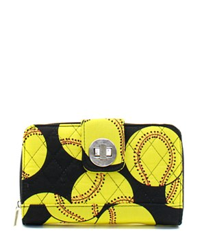 Quilted Wallet Softball Print