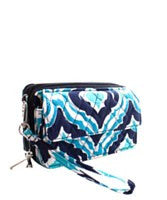 Quilted Blue IKAT Phone Wallet