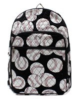 Baseball Print Quilted Backpack Large