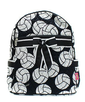 Volleyball Print Quilted Backpack
