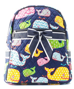 Whale Print Quilted Backpack