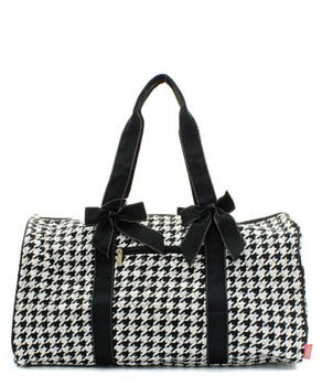 Houndstooth Print Quilted Duffel Bag - 2 Color Choices