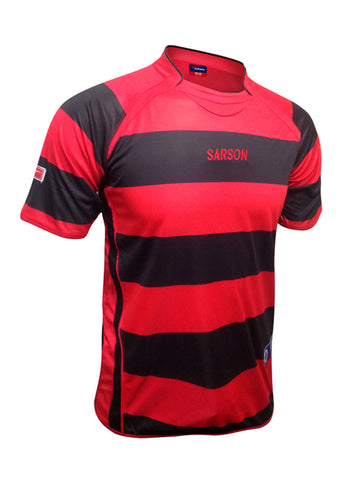 black and red soccer jersey