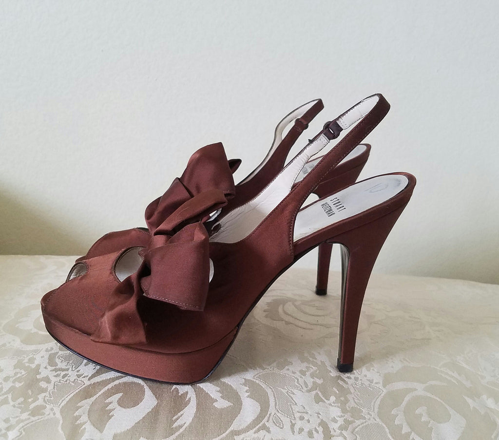 Stuart Weitzman Brown Satin Dress Heel SZ 10
