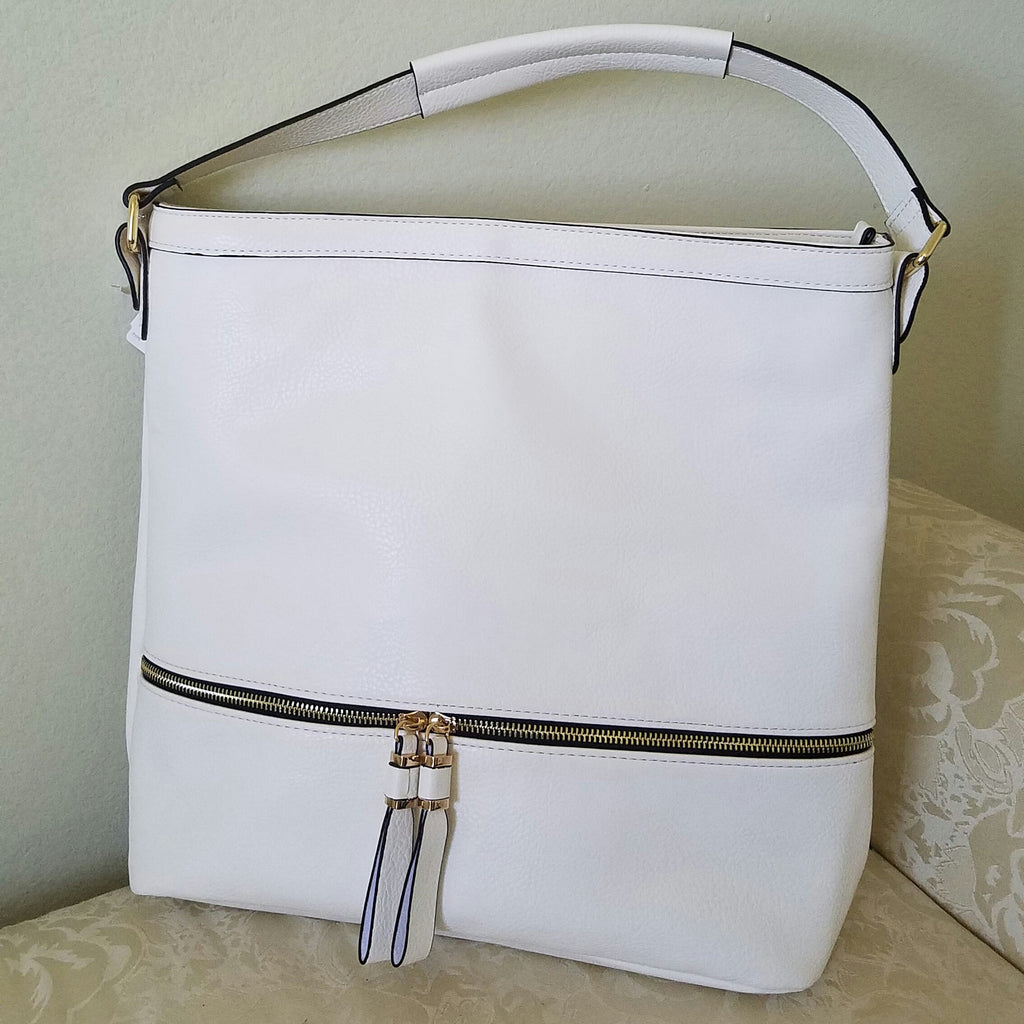 Neiman Marcus White Leather Shoulder Bag
