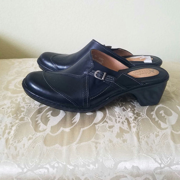 Clarks Black Leather Mules size 7
