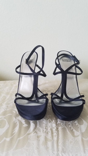 GUESS Black  Satin Charm detailed  Strappy Heels