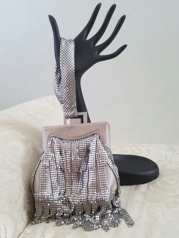 BCBG MAXARZRIA Silver Beaded Small Purse