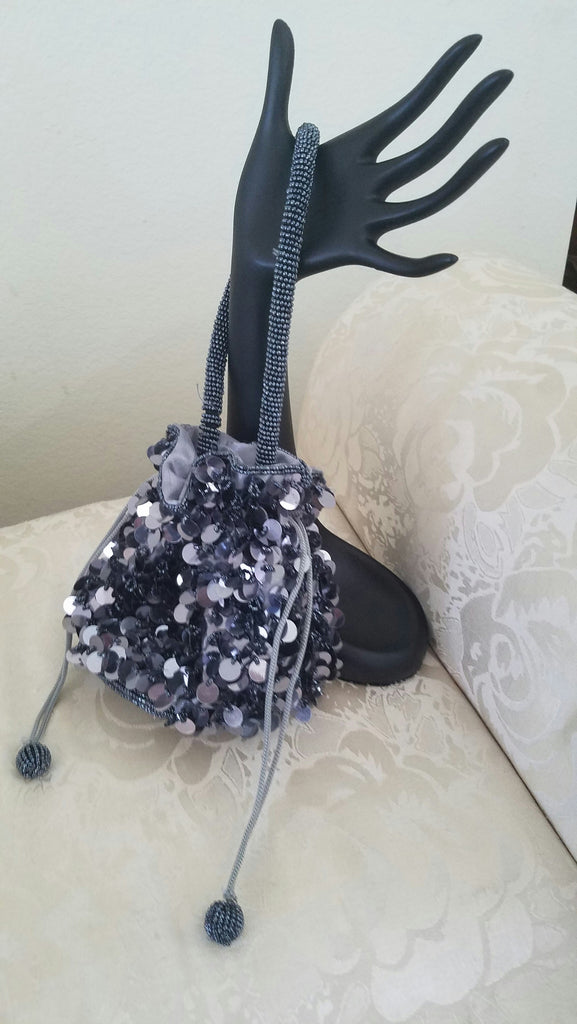 Sequined Dark Grey Drawstring Evening Bag