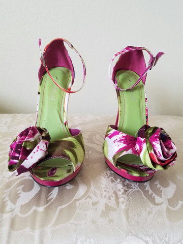 Anne Michelle Floral Print Single Strap Heel sz 71/2