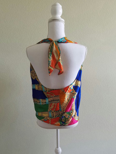 Aum Couture Multi-colored Halter Top M