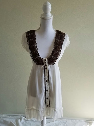 Cream & Brown Crochet  Dress