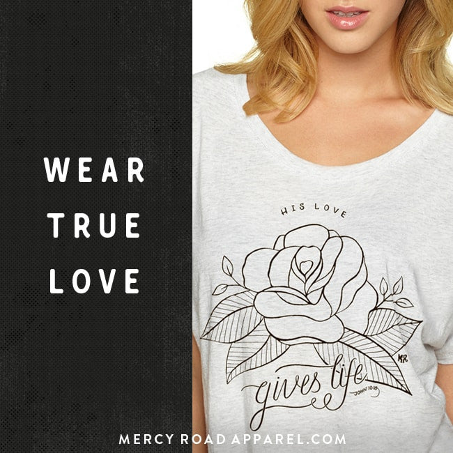Wear God's love for you. Rose Christian triblend t-shirt for women