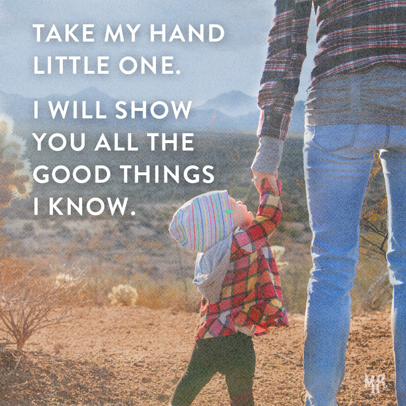 Take my hand little one. Shop Christian clothing at MercyRoadApparel.com