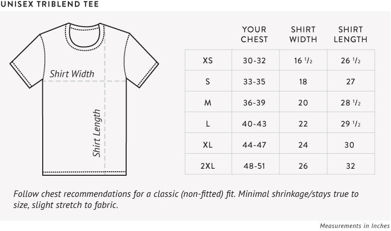 Unisex Triblend Tee Size Chart