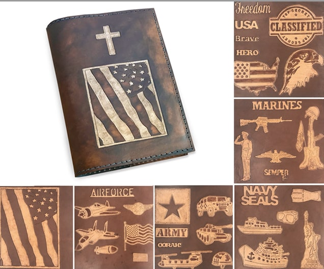 Personalized Leather Bible Cover for Military Veterans Christian Gift