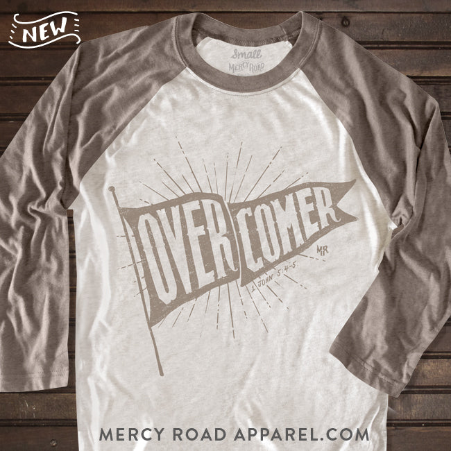 Overcomer Christian Raglan Tee for Men or Women