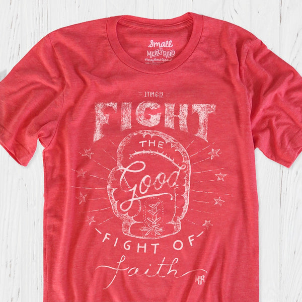 Fight the Good Fight of Faith Christian T-Shirt | Red Triblend Boxing Tee
