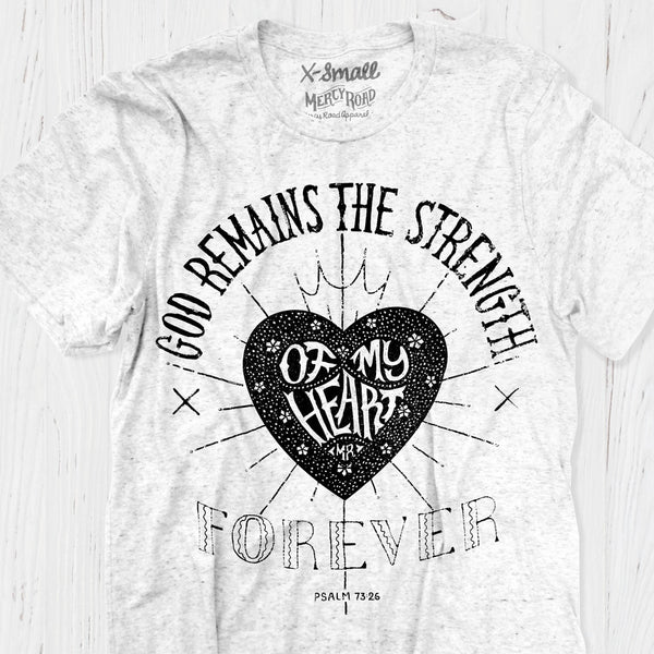 God is the Strength of My Heart Christian T-shirt | White Triblend Scripture Tee