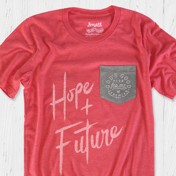 Jeremiah 29:11 Christian T-Shirt | Hope and a Future Heather Red Pocket Tee
