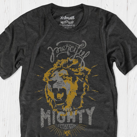 God is Merciful and Mighty Christian Lion T-Shirt | Charcoal Black Triblend Psalm 59 Tee
