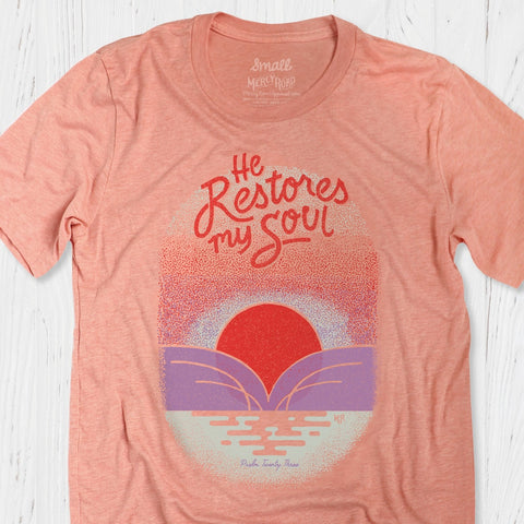 Psalm 23 T-shirt | Sunset Peach Christian Tee