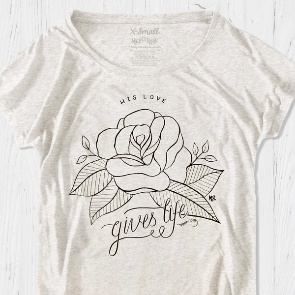 Love of Jesus Gives Life Womens Flowy Dolman Triblend Tee | Christian Rose God's Love T-Shirt