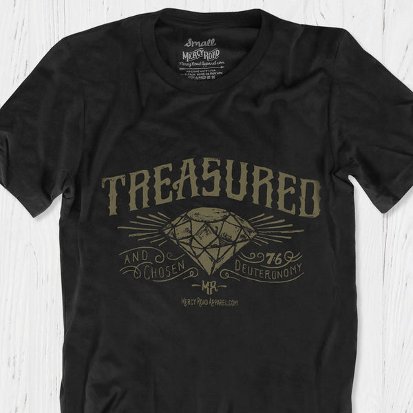 Treasured and Chosen by God Christian T-Shirt | Black Triblend Scripture Tee with Deuteronomy 7:6