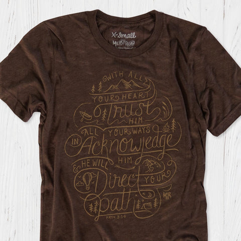Trust in the Lord and He Will direct your path Christian T-shirt Proverbs | Brown Unisex Triblend Scripture Tee