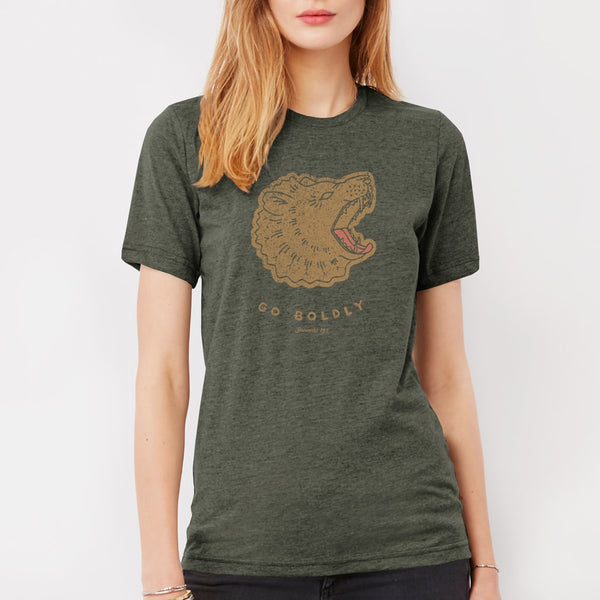 Christian Roaring Lion T shirt for women | Triblend military green tee