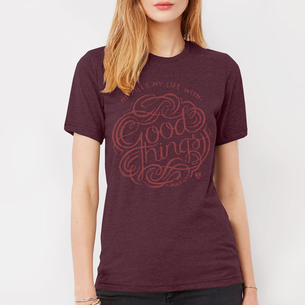 God is Good Christian T-shirt for Women | Maroon Triblend Psalm 103 Tee