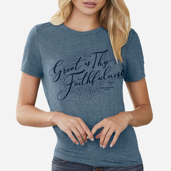 Denim Christian Faith T-shirt for women | Denim Blue Christian Tee