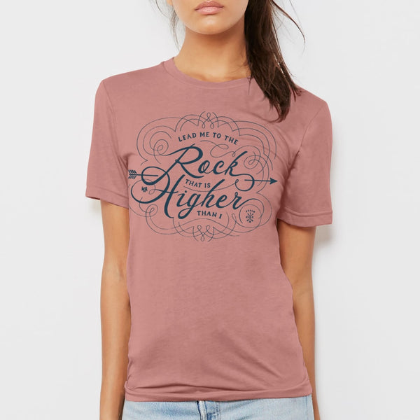 Lead me to the Rock Christian T-shirt for women | Mauve pink tee