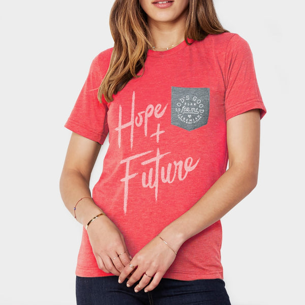 Hope and a Future Christian T shirt for women | Jeremiah 29:11 Heather Red Pocket Tee