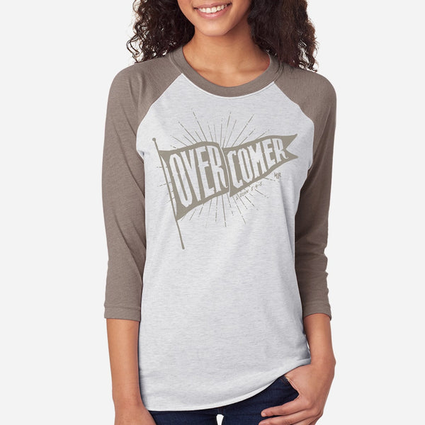 Overcomer Christian Raglan Tee for Women | Victorious Christian Triblend 1 John 5:4-5 Tee