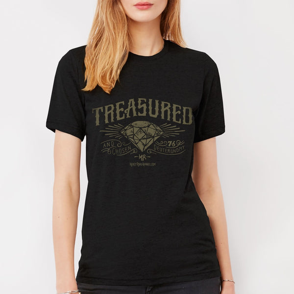 Treasured and Chosen by God Christian T-shirt with Diamond | Black Triblend Scripture Tee for Women