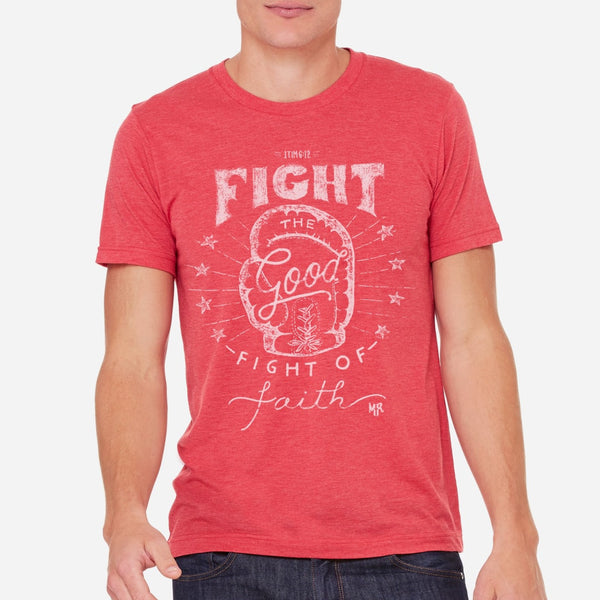 Fight the Good Fight of Faith Christian Boxing T shirt for Men | Red Triblend Tee