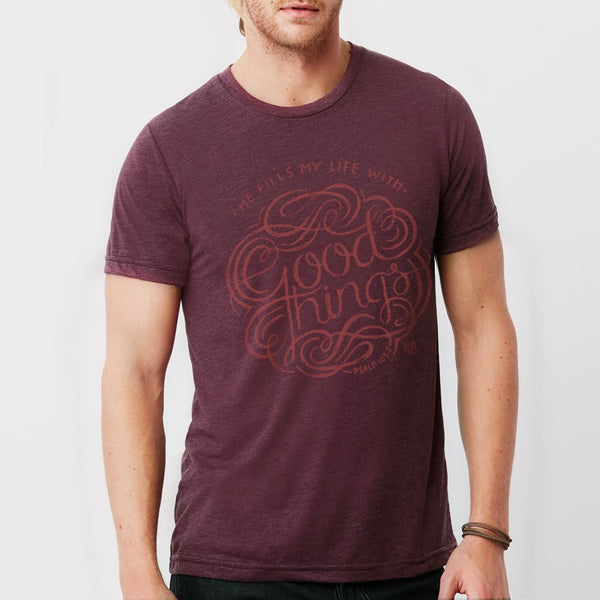 God Fills My Life With Good Things Christian T-Shirt for Men | Maroon Tribend Tee