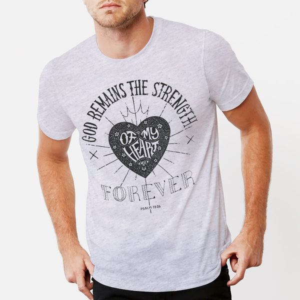Strength of My Heart Christian T shirt for men | White Fleck Triblend Tee