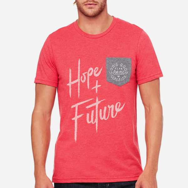 Plans to give hope and future Christian Tee for men | Heather Red Pocket shirt