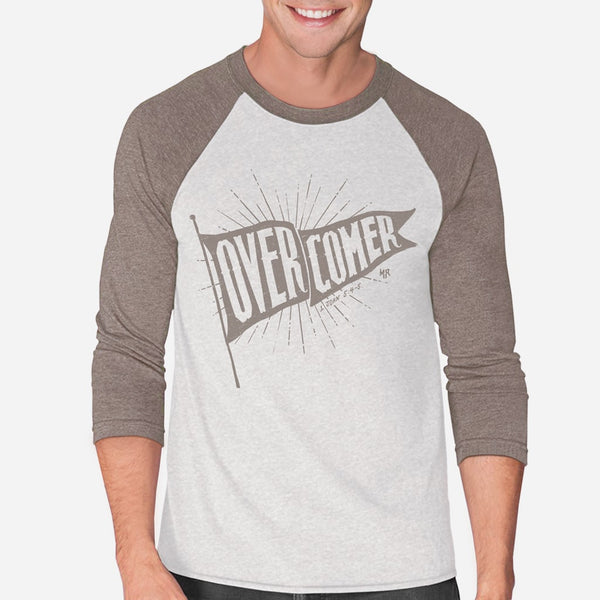 Overcomer Christian Raglan Tee for Men | Victorious Christian Triblend 1 John 5:4-5 Tee