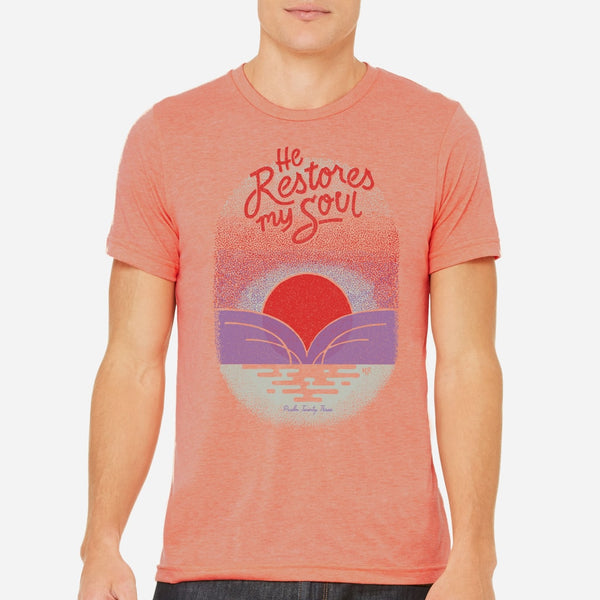 Christian T-shirt with sunset | Faith Peach Christian tee for men