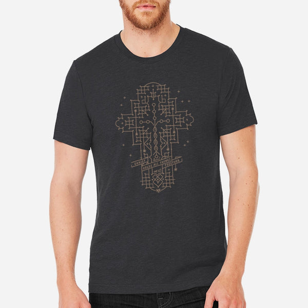 Cross Shaped Laminin Christian Tee for Men and Women