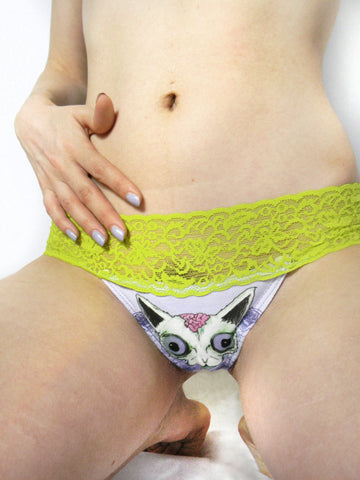 Zombie Pussy Underwear Cat Panties Lime Green and Purple Lace thong lingerie